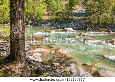 Beautiful Mountain River in Vancouver, British Columbia, Canada. - stock photo