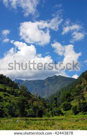 beautiful mountain rural landscapes of himalayas,nepal - stock photo