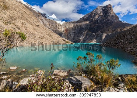 Beautiful mountain scenery with glacier lake in the Andes, Peru, Cordiliera Blanca - stock photo