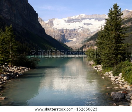 beautiful mountain scenery with river - stock photo