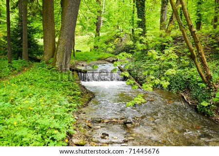 Beautiful mountain stream with a waterfall, in spring forest - stock photo