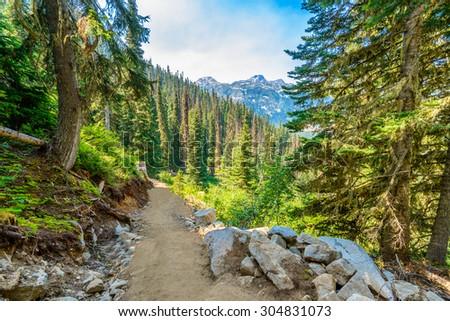 Beautiful Mountain Trail View at Joffre Lakes, British Columbia, Canada. - stock photo