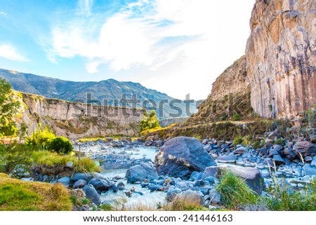 Beautiful mountain view in Colca Canyon, Peru in South America - stock photo