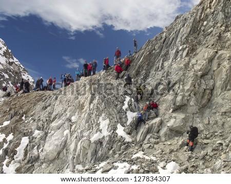 Beautiful mountain view of Cho La Pass, Everest Region, Sagarmatha National Park, Himalayas, Nepal - stock photo