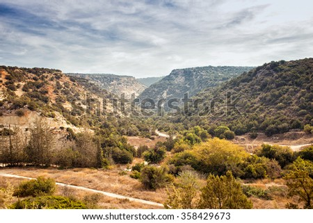 Beautiful mountain view of Cyprus near Pafos. Rout to Avaas gorge cave. Top view, colorful horizontal image - stock photo