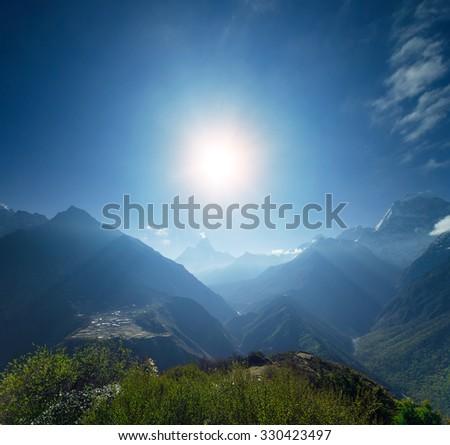 Beautiful mountain view of Everest Region, Sagarmatha National Park, Himalayas, Nepal - stock photo