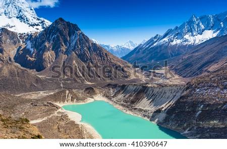 Beautiful mountain view with majestic lake, Himalayas, Nepal.  - stock photo