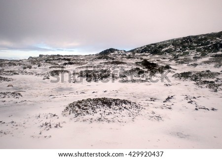 beautiful mountain with snow - stock photo