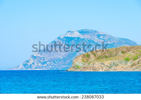 beautiful mountains and clear Aegean Sea - stock photo
