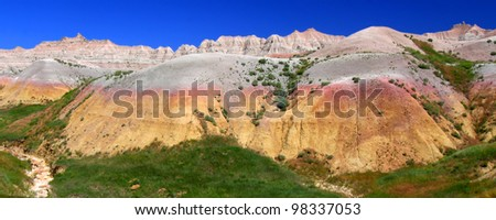 Beautiful mountains in the Badlands National Park in South Dakota - stock photo