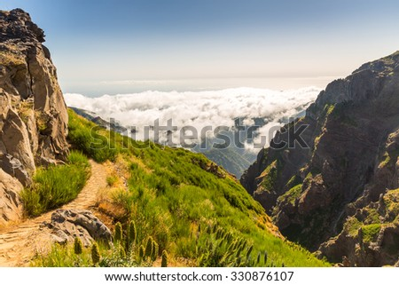 Beautiful mountains with stairs landscape, Portugal, Madeira - stock photo