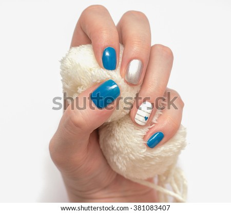 beautiful multicolored female manicure - stock photo