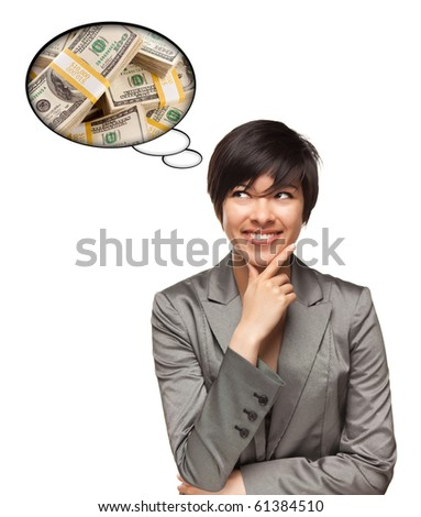 Beautiful Multiethnic Woman with Thought Bubbles of Money Stacks Isolated on a White Background. - stock photo
