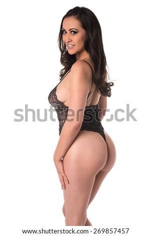 Beautiful multiracial woman in a black bodysuit - stock photo