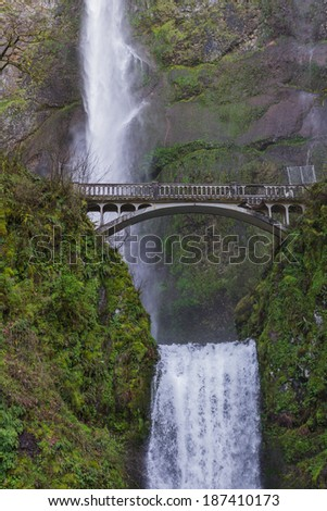 Beautiful Multnomah falls in the columbia gorge in Oregon after a rock damage the bridge in january 2014 - stock photo