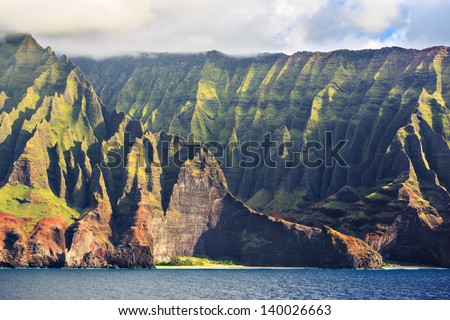 Beautiful Na Pali Coast as seen from off shore - stock photo