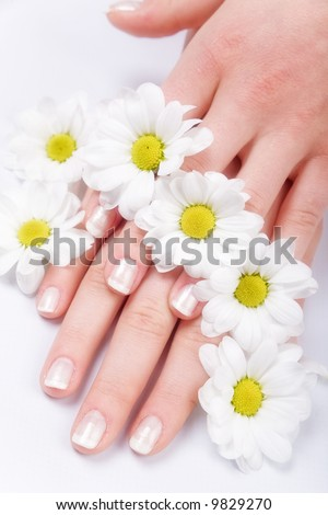 Beautiful nails with french and flowers - stock photo