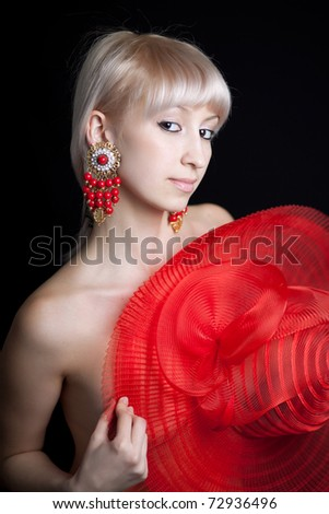 beautiful naked blonde with red hat - stock photo