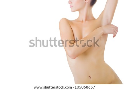 Beautiful naked female body isolated on white background - stock photo