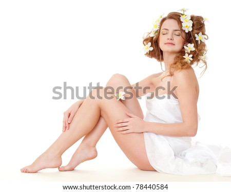 beautiful naked girl on a white - stock photo