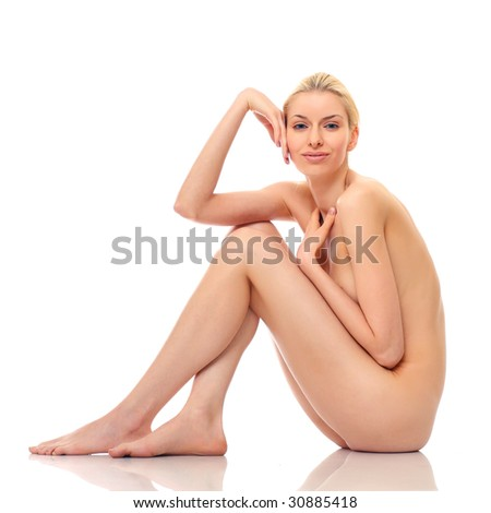 Beautiful naked woman poses, isolated on a white background, please see some of my other parts of a body images - stock photo