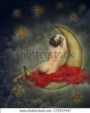 beautiful naked woman sitting on the paper moon - stock photo