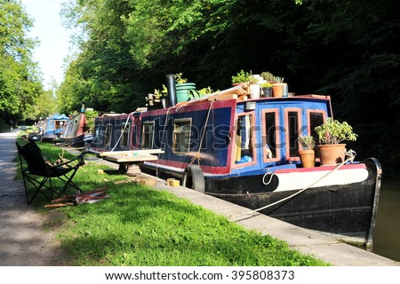 Beautiful Narrow Boat on the Kennet and Avon Canal Near Bath in Somerset England - stock photo