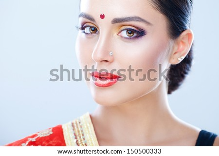 Beautiful native Indian lady - stock photo