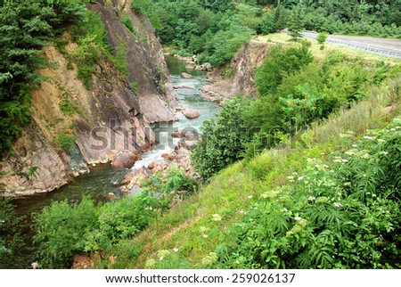 Beautiful natural landscape with views of the mountain river - stock photo