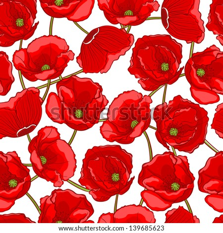beautiful natural pattern with red poppies on a white background  - stock photo