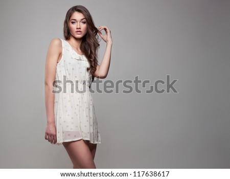 Beautiful natural woman - stock photo