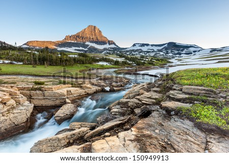 Beautiful nature at Logan Pass, Glacier National Park, MT in Summer - stock photo