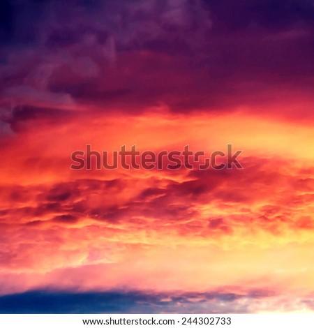 Beautiful nature background - red sunset, bright sun. Scenic view of beautiful sun set  - stock photo