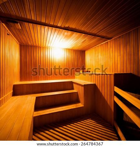 beautiful nature interior home finnish sauna room background - stock photo