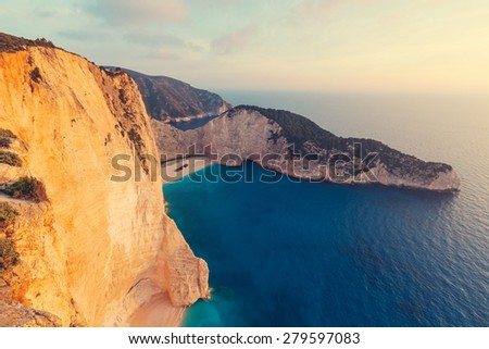 Beautiful Navagio Beach on Zakynthos Island in Greece - stock photo