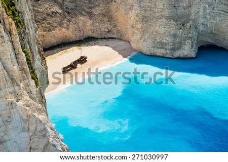 Beautiful Navagio beach on Zakynthos island in Greece, Europe. Beach with the shipwreck. Famous greek beach. Most beautiful beach. Sand beach. - stock photo