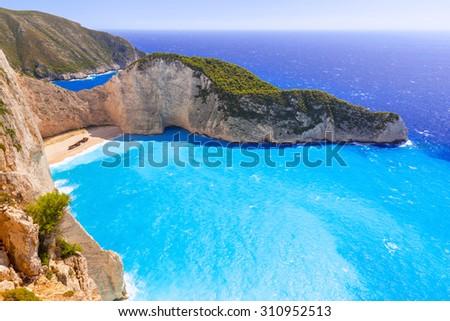 Beautiful Navagio Beach (Shipwreck beach) on Zakynthos Island, Greece - stock photo