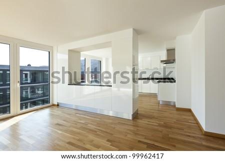beautiful new apartment, interior open space - stock photo