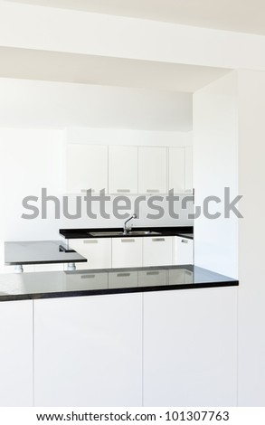 beautiful new apartment, interior, view of the kitchen - stock photo