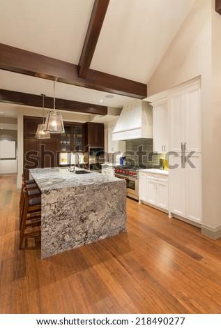 Beautiful New Kitchen in Luxury Home - stock photo