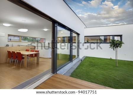 Beautiful new peaceful, modern home - stock photo