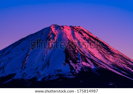 Beautiful new year Red summit of mount Fuji, a world heritage - stock photo