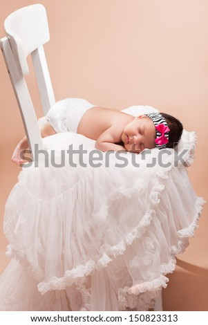 Beautiful newborn baby girl - stock photo