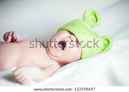 beautiful newborn boy - stock photo