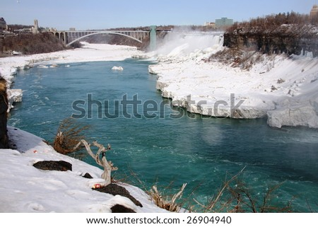 beautiful niagara falls and river - stock photo