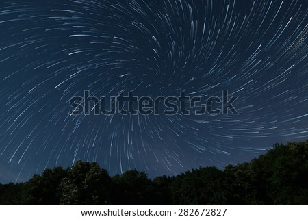 Beautiful night sky Beautiful stars vortex Stars game, Stars play Deep forest night sky - stock photo