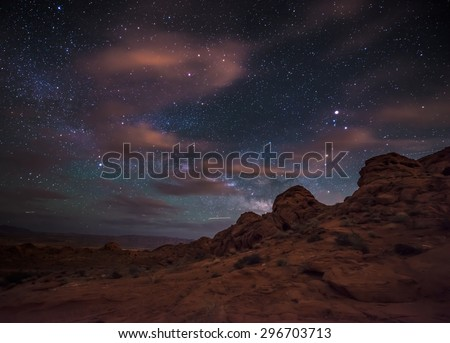 Beautiful Night Starry sky with Rising Milky Way over the Valley of Fire State Park Nevada - stock photo