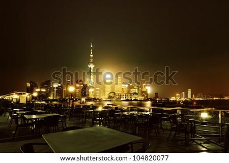 beautiful night view of shanghai skyline - stock photo