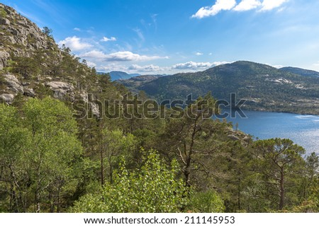 Beautiful Norway scenery near Pulpit Rock (Preikestolen) - stock photo