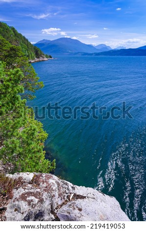 Beautiful Norwegian fjord - view from the cliff - stock photo